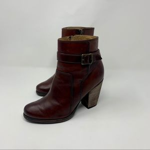 Frye Patty Dark Brown Leather Riding Ankle Boots